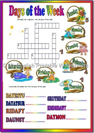 Free french worksheets days of the week