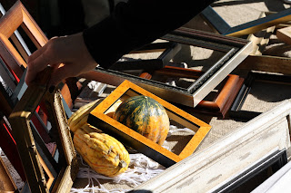 picture of wooden frame display with gourds