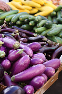 picture of eggplant, zucchini, and yellow squash