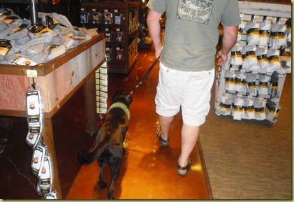 Tony and Sheba in the shopping in the fishing department.
