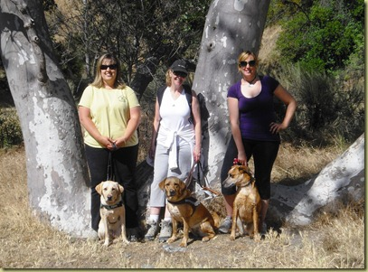 Reyna and I, Glenda and Wendy and Stephanie and Pete standing in front of the W Tree.
