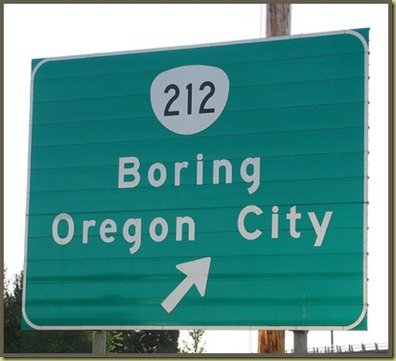 Road sign to Boring Oregon