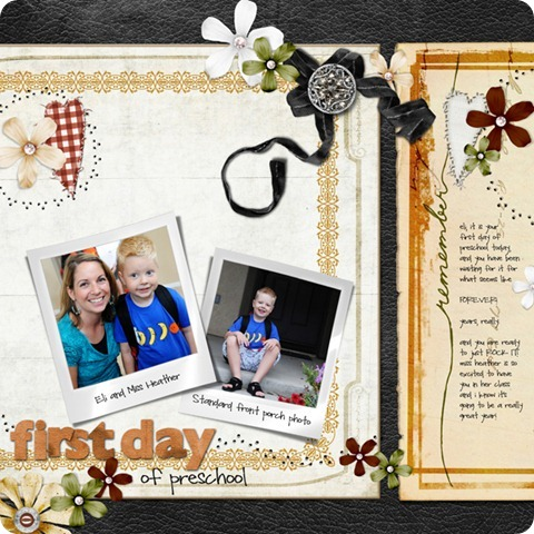 Layout by Laurel Lakey uses: So Elementary Collection Biggie Dynamic Brush Set: Paper Piercing 8201 Ragamuffin Collection ScrapSimple Embellishment Templates: Retro Frames ScrapSimple Paper Templates: Doilies