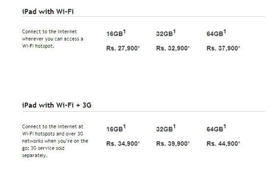 apple ipad india prices