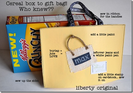 Max gift bag with cereal box