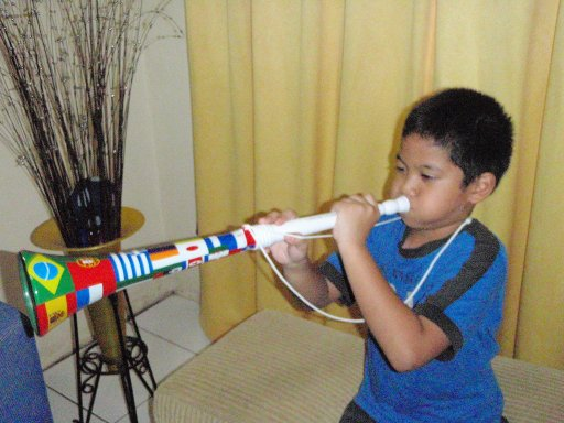 Bagus Blowing the Vuvuzela
