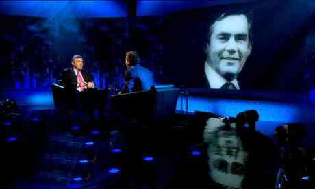 Piers Morgan talk with Gordon Brownhis mother Sarah was in the audience.