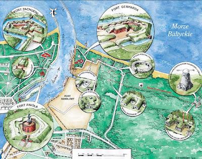 Mapa obiektów Twierdzy Świnoujście