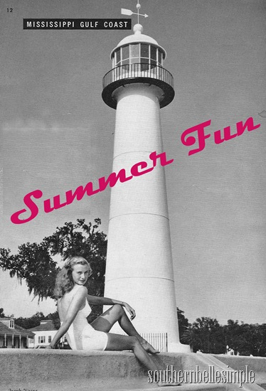 scenic south -- girl by lighthouse with summer fun