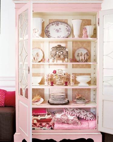pink china cabinet