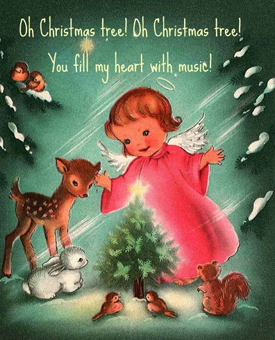 Vintage Christmas Card Pink Angel-1