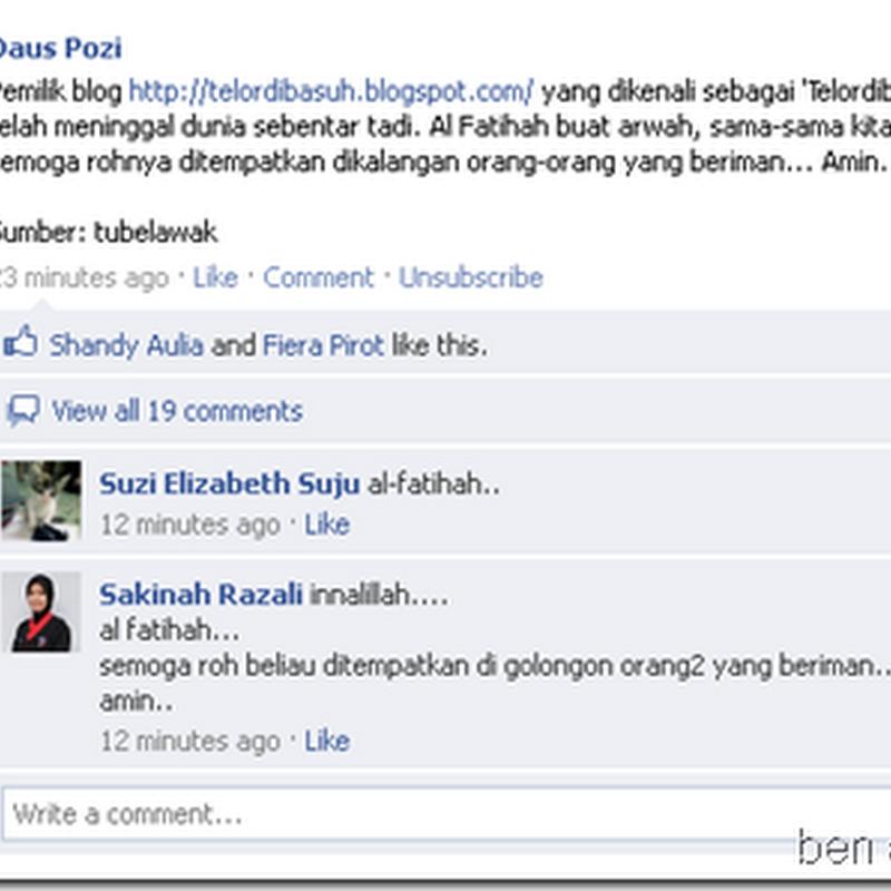 Al-fatihah buat blogger TELORDIBASUH