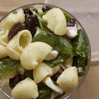 Pasta Salad with Spinach, Olives, and Mozzarella