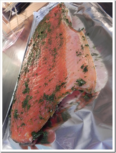 Salmon ready to be sliced