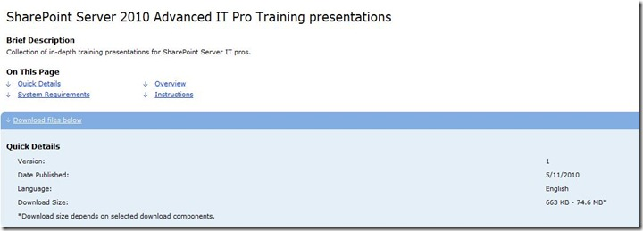 SharePoint 2010 IT Pros Training