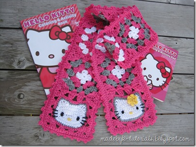 Made By K Tutorials Hello Kitty Granny Square Scarf Crochet Pattern