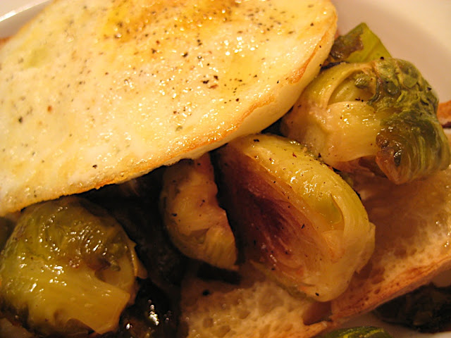 fried egg brussels sprouts