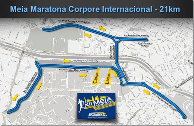 Percurso Meia Maratona Corpore