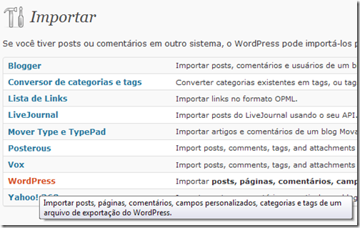 Importar Wordpress