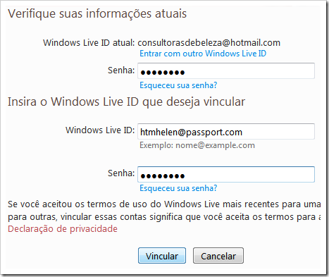 Insira o Windows Live ID