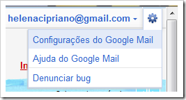 Configurações do Google Mail