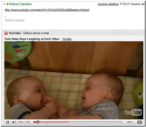 YouTube no Gmail