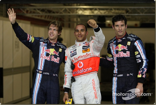 31.10.2009 Abu Dhabi, United Arab Emirates,  Sebastian Vettel (GER), Red Bull Racing, Lewis Hamilton (GBR), McLaren Mercedes in pole position and Mark Webber (AUS), Red Bull Racing - Formula 1 World Championship, Rd 17, Abu Dhabi Grand Prix, Saturday Qualifying - www.xpb.cc, EMail: info@xpb.cc - copy of publication required for printed pictures. Every used picture is fee-liable. © Copyright: Davenport / xpb.cc