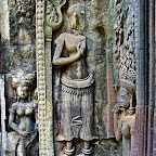Three Thommanon Devata (sacred female image). The two devata on the left have stomach markings. It is also interesting to note that this monument mixes sampot and crown styles. Perhaps this indicates a transition of power or religion in progress. Siem Reap, Cambodia http://www.Devata.org