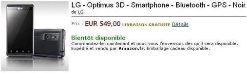 LG Optimus 3D chez Amazon
