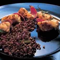Grilled Chicken with Lemon, Garlic and Rosemary, served with Puy Lentils