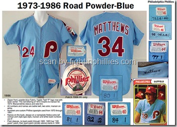 Phillies 73-96 Road Uniforms
