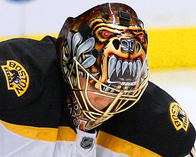 Tuukka Rask with his Bruins goalie mask