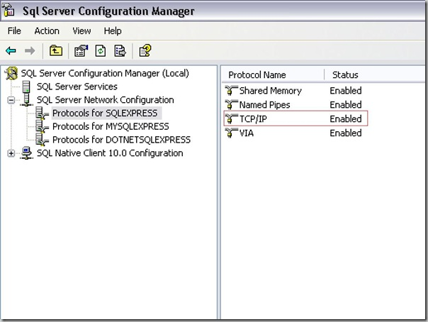 SQL Server TCP/Ip Protol configuration