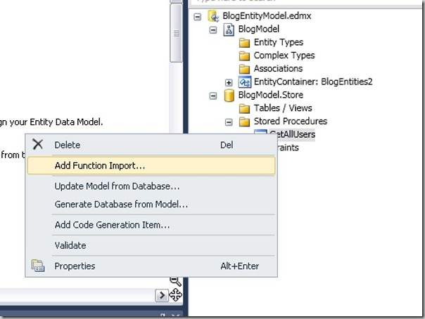 Importing a function from stored procedure example.