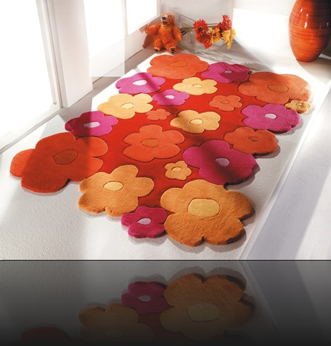 tapis tufté main orange