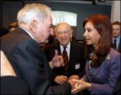 Cristina de Kirchner con David  Rockefeller