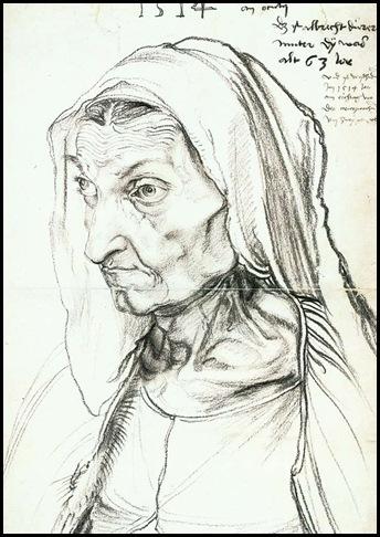 Durero Retrato de la madre 1524 carbonilla sobre papel