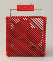Ariante fan, red, with wall mount