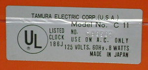 CC-11 Lumitime clock, orange