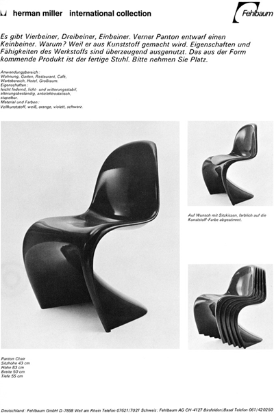 Panton chair original catalog entry