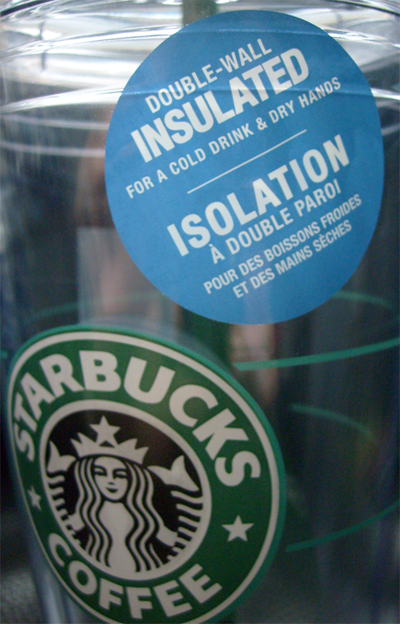 Starbucks Grande and Venti to-go cold cups, label