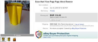 Final bid screenshot, yellow Pago Pago vase (reissue)
