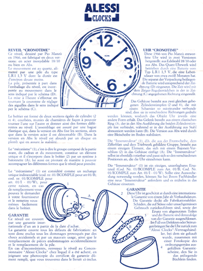 Cronotime clock information sheet (back)