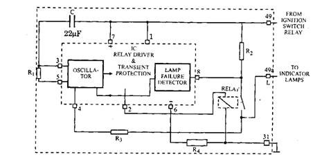 Typical electronic flasher circuit.