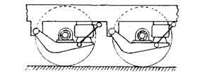 Tandem trailing arm rolling diaphragm air sprung suspension.