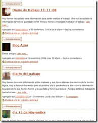 Fragmento del blog de la red social