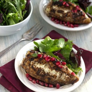 Goat Cheese Stuffed Pomegranate Chicken with Balsamic Reduction {High Protein + GF}