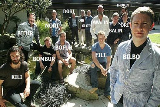 Bilbos brödraskap med nametags