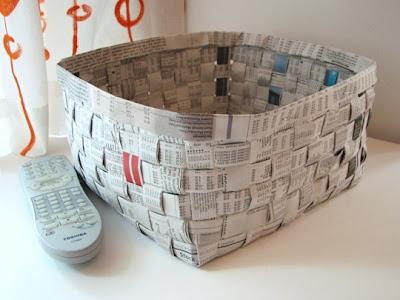cesta%20periodico%201 Cómo hacer una cesta con periódicos reciclados