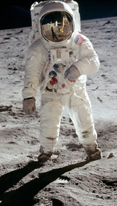 Astronaut Buzz Aldrin, photographed by Neil Armstrong (visible in reflection)